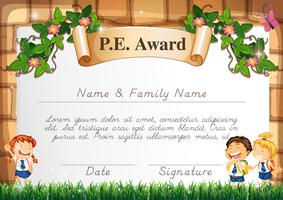 Certificate template for PE award