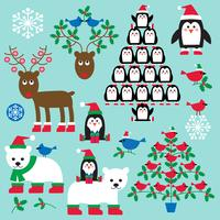christmas animals and trees clipart