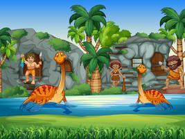 Hommes des cavernes et dinosaures vivant ensemble