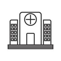 Hôpital ligne noire icône