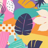 Tropical jungle leaves and flowers background
