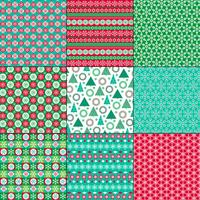 retro bright Christmas and winter patterns
