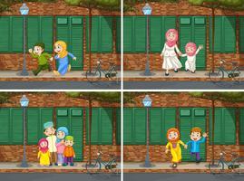Familia musulmana en el barrio.