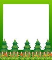An empty paper template with pine trees and a garden at the bottom