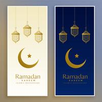 ramadan kareem islamic moon and lamp banner
