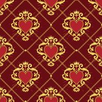 Sacred heart and golden chain on dark red background. Seamless pattern. Vector illustration