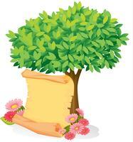 Een scroll onder een boom