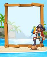 Pirat und Papagei am Strand