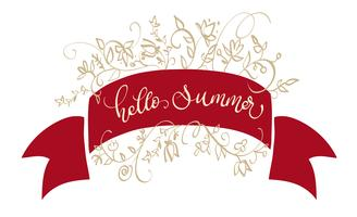 text hello summer vector on red frame. Calligraphy lettering illustration EPS10