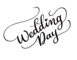 testo vettoriale giorno delle nozze su sfondo bianco. Illustrazione EPS10 dell'iscrizione di calligrafia