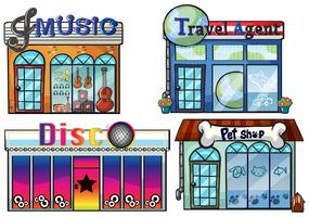 A musical store, travel agent office, disco house and a pet shop vector
