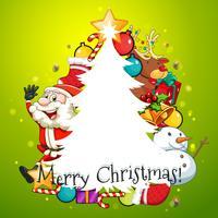 Tarjeta de feliz navidad con arbol y santa