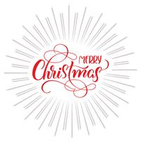 Merry Christmas text and abstract background with rays. Calligraphy lettering vector