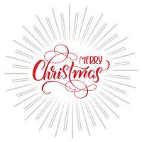 Texto de la Feliz Navidad y fondo abstracto con los rayos. Letras de caligrafía