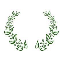 Grön krans ram av löv på vit bakgrund. Vektor kalligrafi illustration EPS10