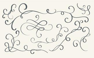 set of art calligraphy flourish vintage decorative whorls for design. Vector illustration EPS10