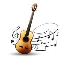 Guitarra clásica con notas musicales en el fondo.