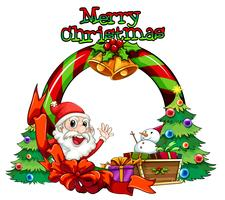 En julkortsmall med ett monster och en snögubbe över släden