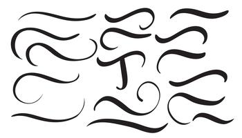 set of art calligraphy flourish vintage decorative whorls for design letters. Vector illustration EPS10