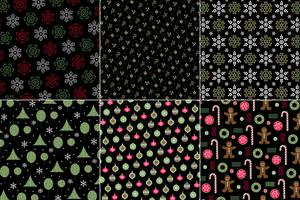 winter holiday Christmas patterns on black backgrounds