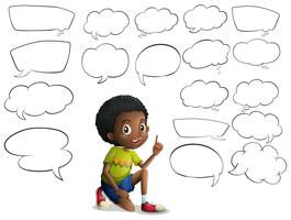 Boy and many speech bubbles