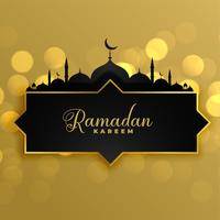 lovely golden ramadan kareem greeting background