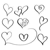 set di cuori vintage calligrafia fiorire. Illustrazione ENV 10 disegnata a mano di vettore