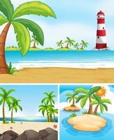 Drie scènes met oceaan en eiland
