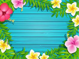 Summer frame on wood background.
