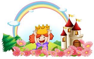 Une princesse avec un château à l'arrière
