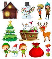 Elementos navideños con arbol y muchos personajes.