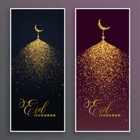 beautiful mosque made with sparkle glitter banner