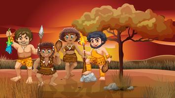 En grupp cavemen