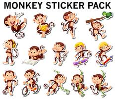 Set of monkey stickers in different posts