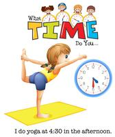 En ung kvinna yoga klockan 4:30