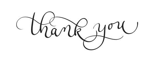 Tack text på vit bakgrund. Kalligrafi bokstäver Vektor illustration EPS10