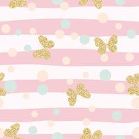 Gold glittering butterflies confetti seamless pattern on pink striped background.
