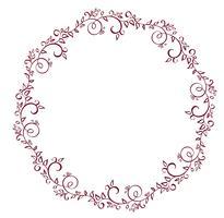 cadre rond rouge des feuilles isolé sur fond blanc. Illustration de calligraphie vectorielle EPS10