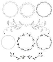 set of round flourish vintage decorative whorls frame leaves isolated on white background. Vector calligraphy illustration EPS10