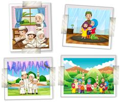 Four photo frames of muslim family