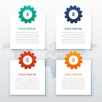 gears infographic background with four steps