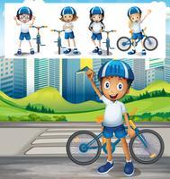 Bici di guida del ragazzo nel parco