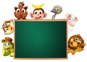 A blackboard surrounded with animals
