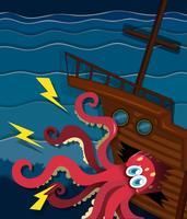 Reusachtige octopus die een schip verplettert