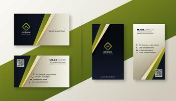 diseño de tarjeta de visita elegante verde moderno