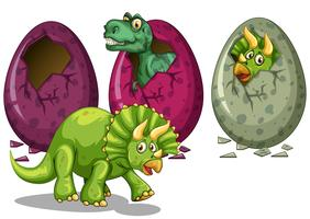 Three types of dinosaurs hatching eggs