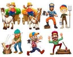 Set of farmer character