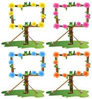Rahmenschablone mit bunten Blumen