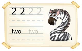 Zebra number two worksheet