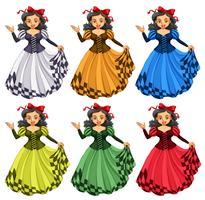 Woman in different color dress